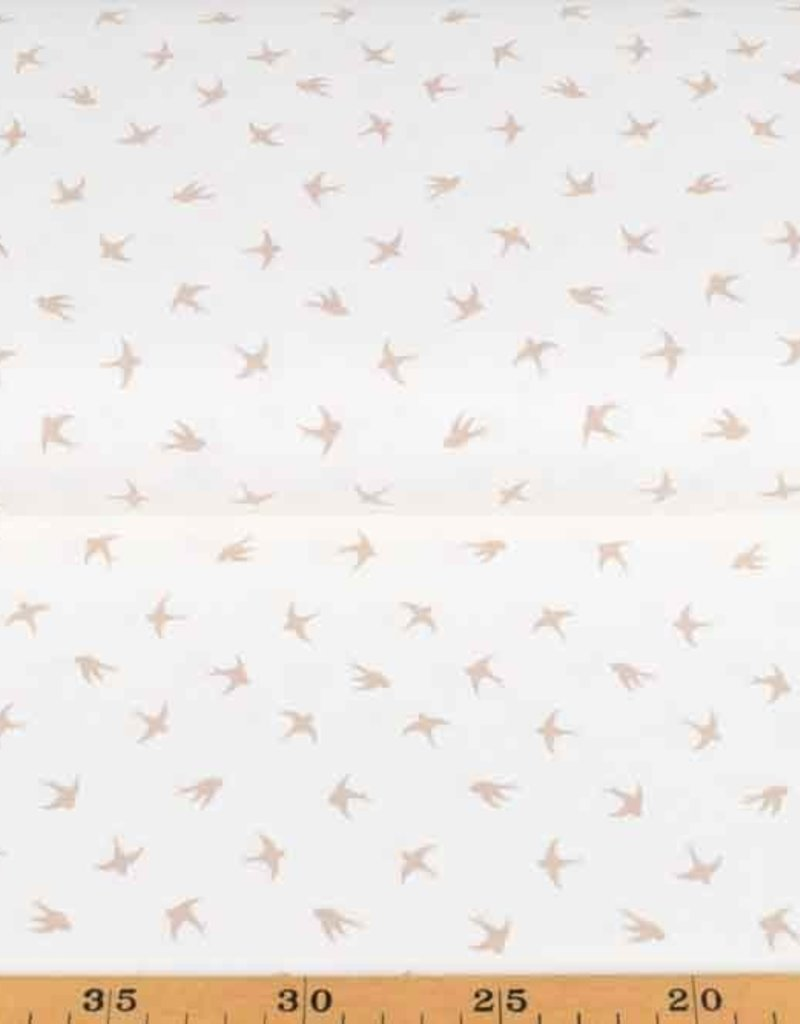 100x150 cm cotton jersey dyed, swallows offwhite