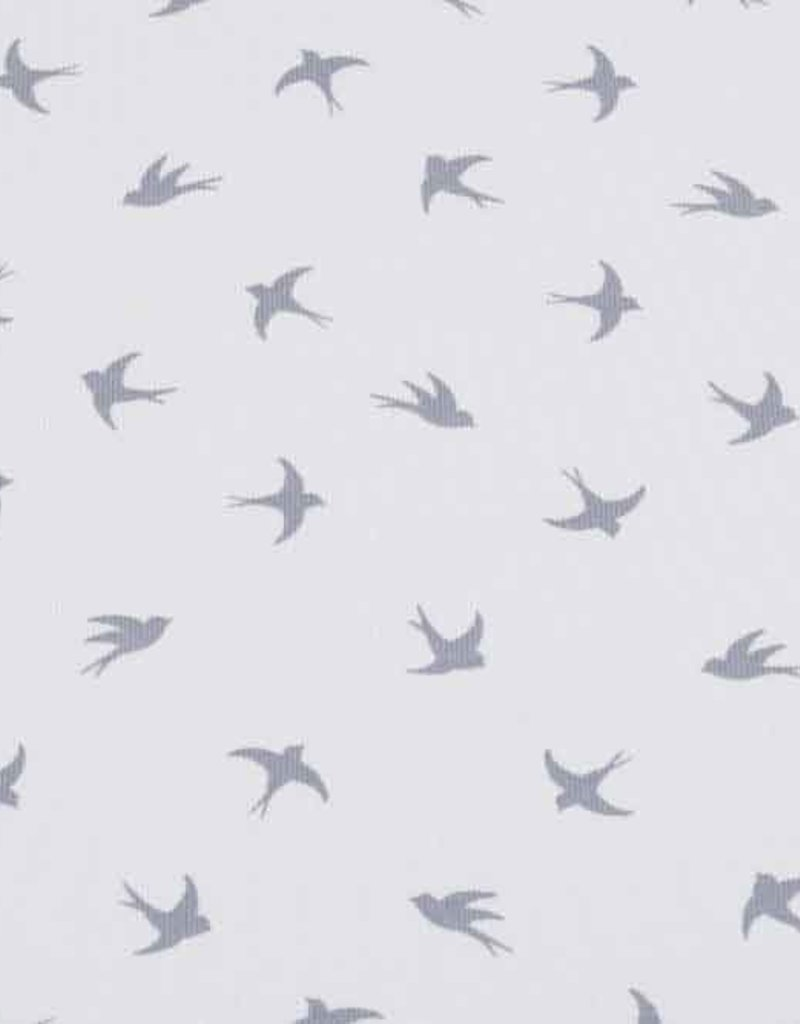 100x150 cm cotton jersey dyed, swallows light grey