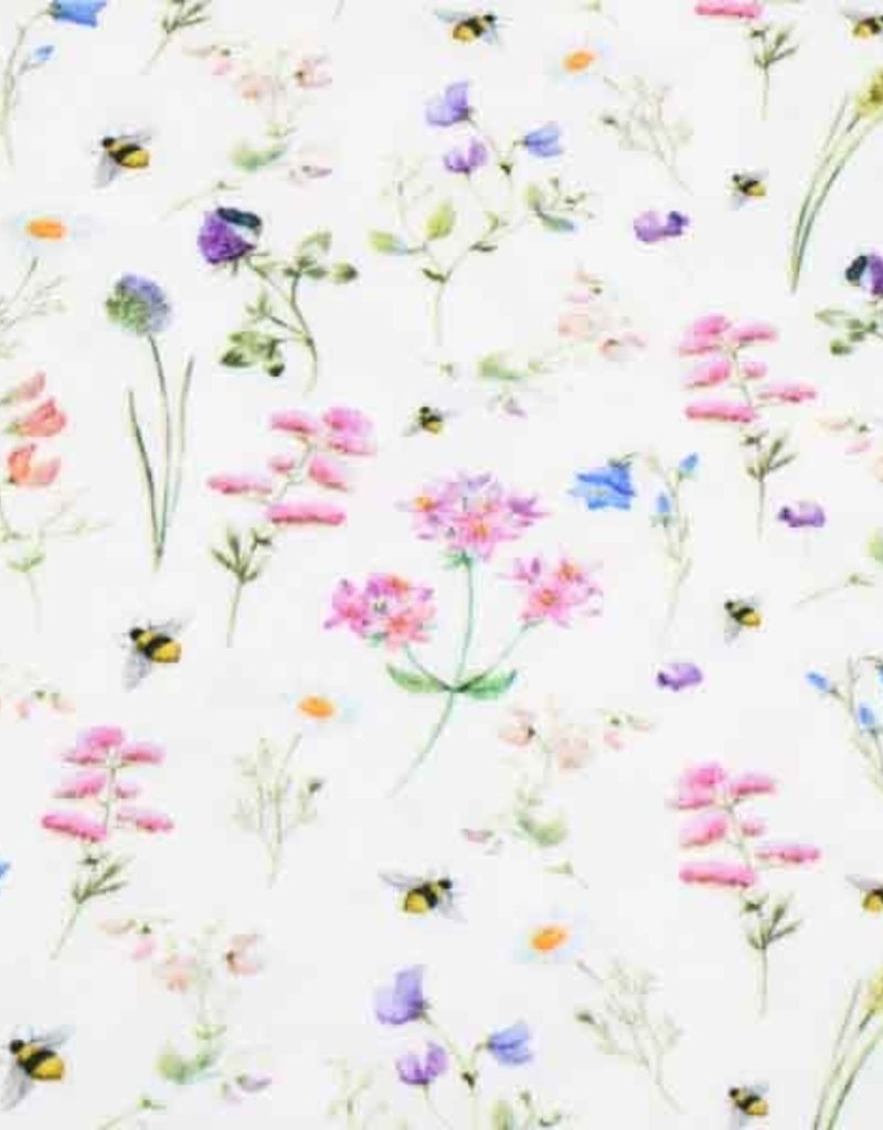 100x150 cm cotton jersey digital print flowers and bees offwhite