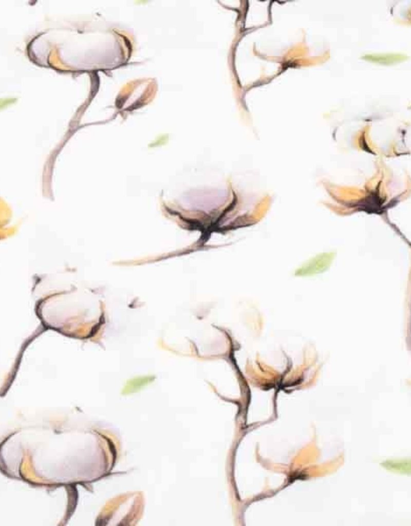 100x150 cm cotton jersey digital print flowers offwhite
