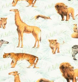 100x150 cm cotton jersey digital print animals offwhite