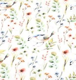 100x150 cm cotton jersey digital print flowers and birds offwhite