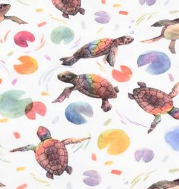 100x150 cm cotton jersey digital print turtles offwhite