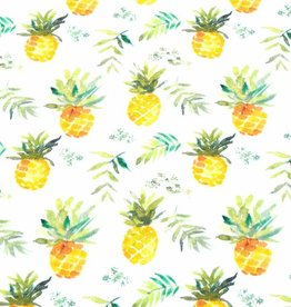 100x150 cm cotton jersey digital print pineapples offwhite