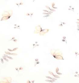 100x150 cm cotton jersey digital print twigs/butterflies offwhite