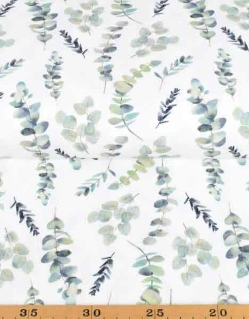 100x150 cm cotton jersey digital print leaves/twigs offwhite