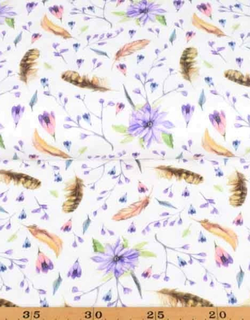 100x150 cm cotton jersey digital print flowers and feathers offwhite