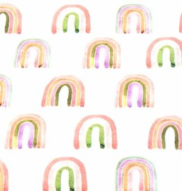 100x150 cm cotton jersey digital print rainbows offwhite