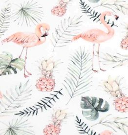 100x150 cm cotton jersey digital print flamingos offwhite