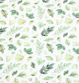 100x150 cm cotton jersey digital print leaves offwhite