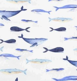 100x150 cm cotton jersey digital print whales offwhite
