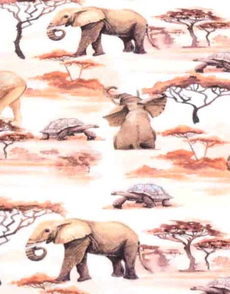 100x150 cm cotton jersey digital print elephants offwhite