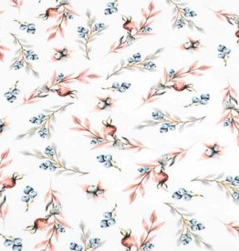 100x150 cm cotton jersey digital print twigs/berries offwhite