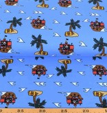 100x150 cm cotton jersey pirate ship aqua