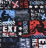 100x150 cm Sweat/French Terry extreme motorcycle rot/blau