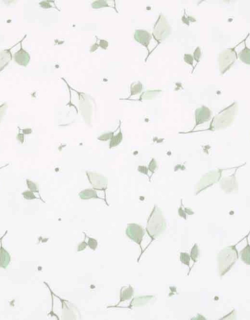 100x150 cm cotton jersey leaves old green