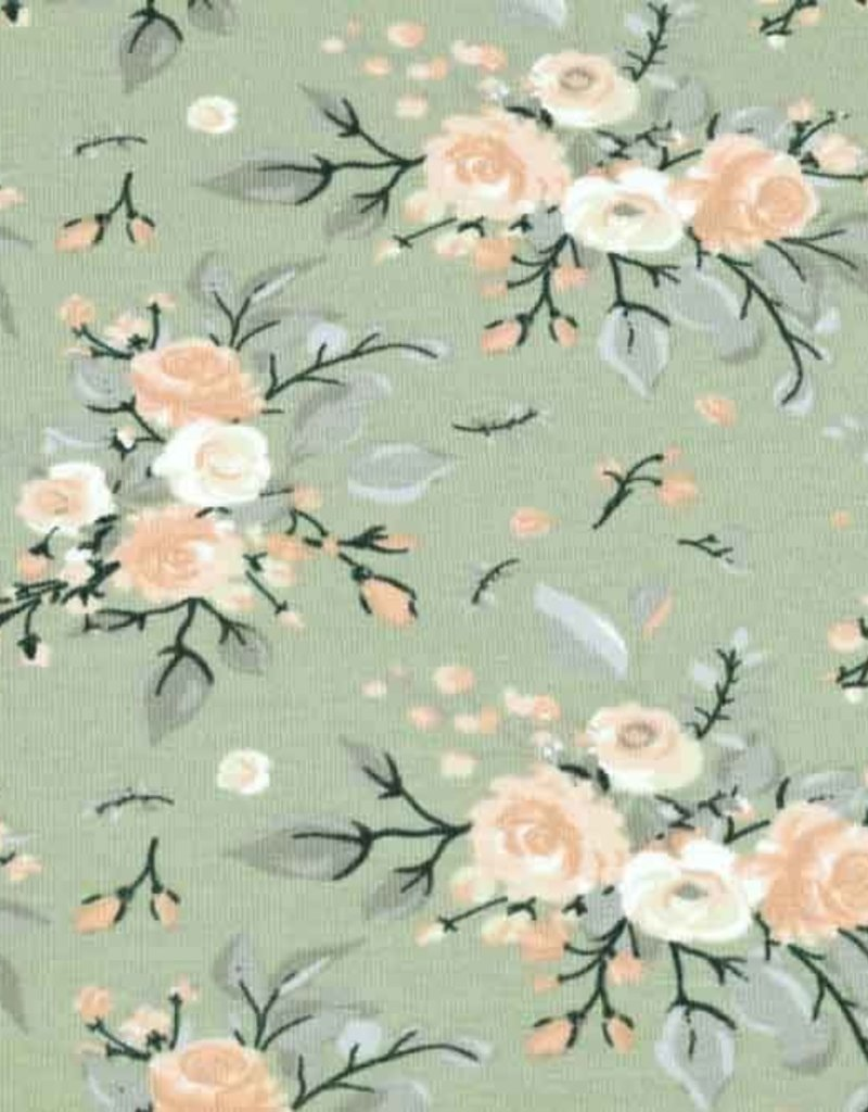 100x150 cm cotton jersey roses old green