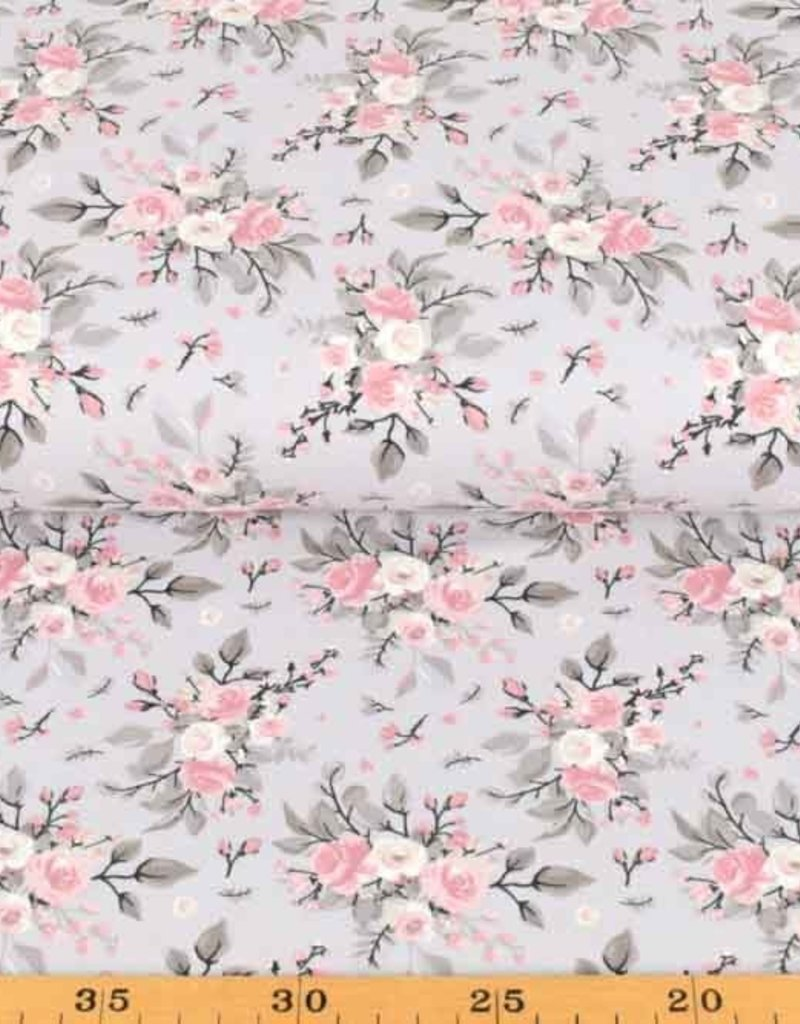 100x150 cm cotton jersey roses light grey