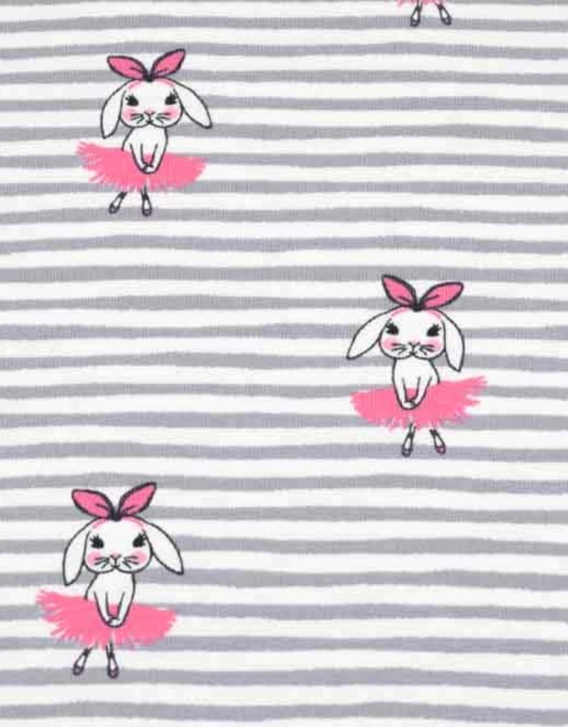 100x150 cm cotton jersey stripes light grey with ballerina bunnies pink