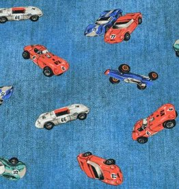 100x150 cm cotton jersey digital print jeans look racing cars jeans blue