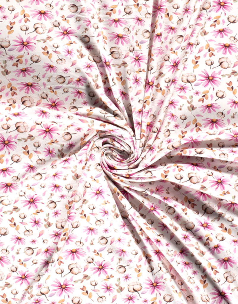 100x150 cm cotton jersey digital print twigs and flowers offwhite