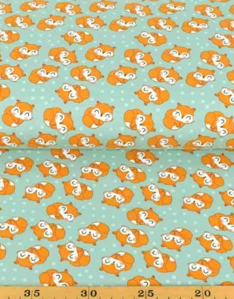 50x150 cm cotton jersey sleeping foxes old green
