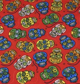 50x150 cm cotton mexican skulls red