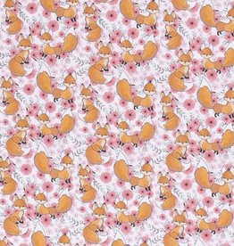 100x150 cm Cotton jersey foxes pink