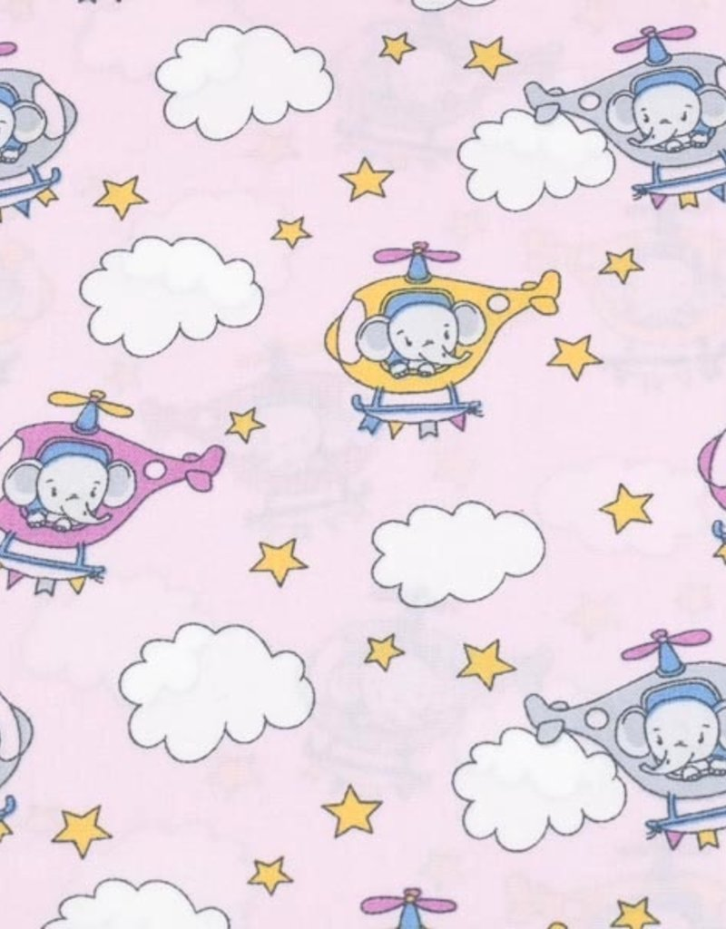 50x150 cm cotton helicopters light pink