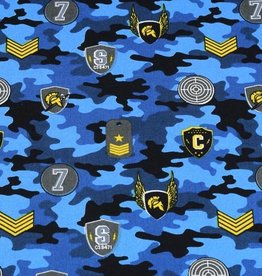 50x150 cm cotton camouflage with patches blue