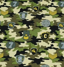 50x150 cm cotton camouflage with patches green/beige