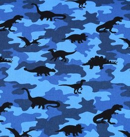 50x150 cm cotton camouflage with dinos blue