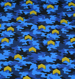 50x150 cm cotton camouflage with rank stripes blue