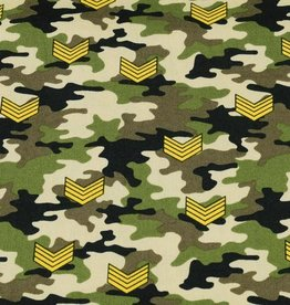 50x150 cm cotton camouflage with rank stripes green/beige