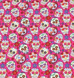 50x150 cm cotton mexican skulls small pink