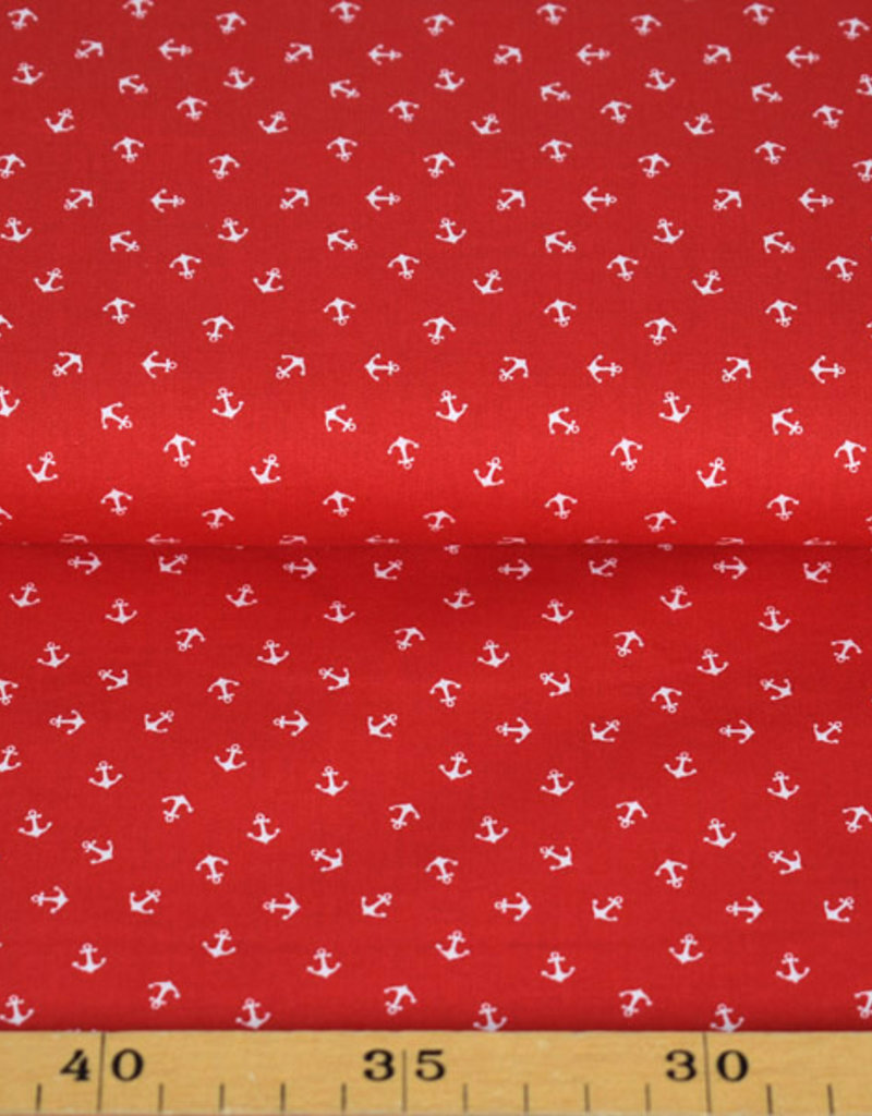 50x150 cm cotton small anchors red