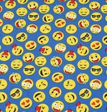 50x150 cm cotton emoticons steel blue