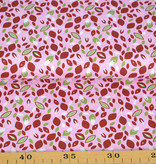 50x150 cm cotton leaves light pink