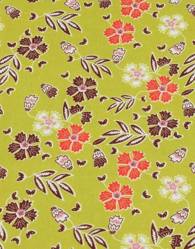 50x150 cm cotton flowers light green/wine-red/red