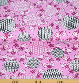 50x150 cm cotton flowers and fantasy circles light pink