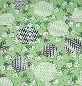50x150 cm cotton flowers and fantasy circles light green