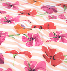 100x150 cm cotton Flowers with stripes Pink
