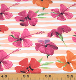 100x150 cm cotton jersey Flowers with stripes Pink