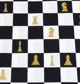 50x150 cm cotton check black/white with gold chess pieces