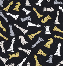 50x150 cm cotton black with chess pieces in gold/white/grey