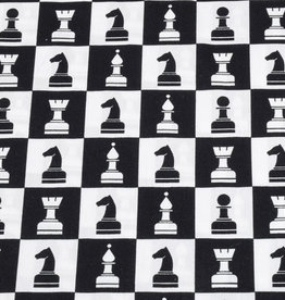 50x150 cm cotton check black/white with chess pieces