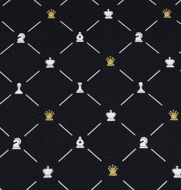 50x150 cm cotton check black with chess pieces in gold/white