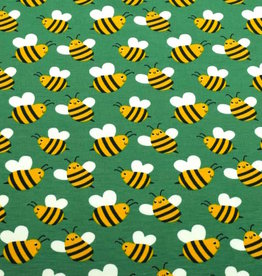 100x150 cm cotton jersey bees old green