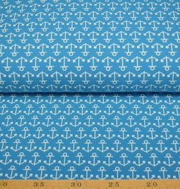 100x150 CM katoen tricot ankers aqua