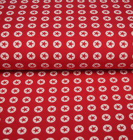 100x150 cm cotton jersey star in circle red